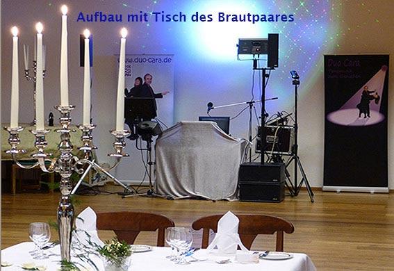Aufbau des Hochzeits-Musik-Duo Cara bei einer Hochzeit